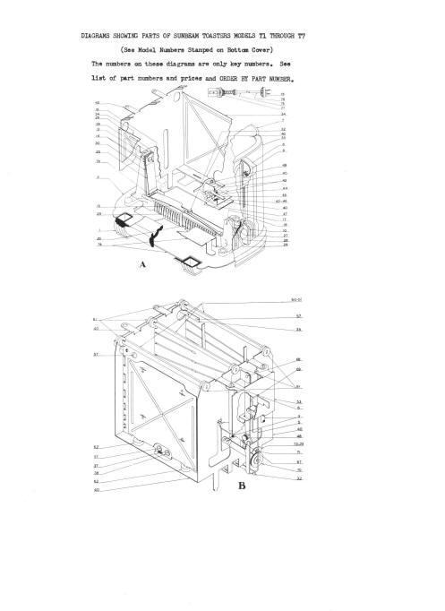 Vintage Sunbeam T 1 T 7 Toaster Service Parts Manual Rare